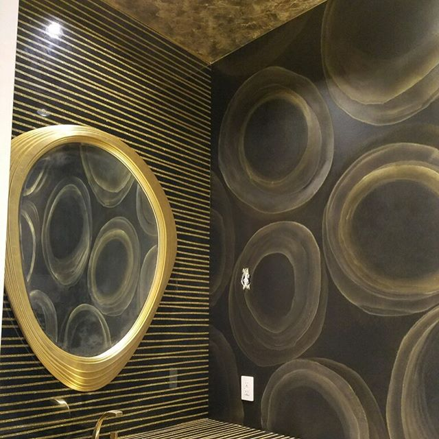 Finally finished this very unique powder room! Gold leaf ceiling and golden orb walls. #anythingbutplain