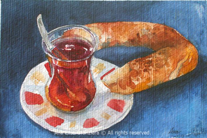 Cha com pretzel / Tea and Pretzel