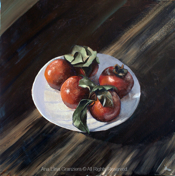 Persimmons, 40x40cm, acrylic on canvas. Second place, Academic Painting category.