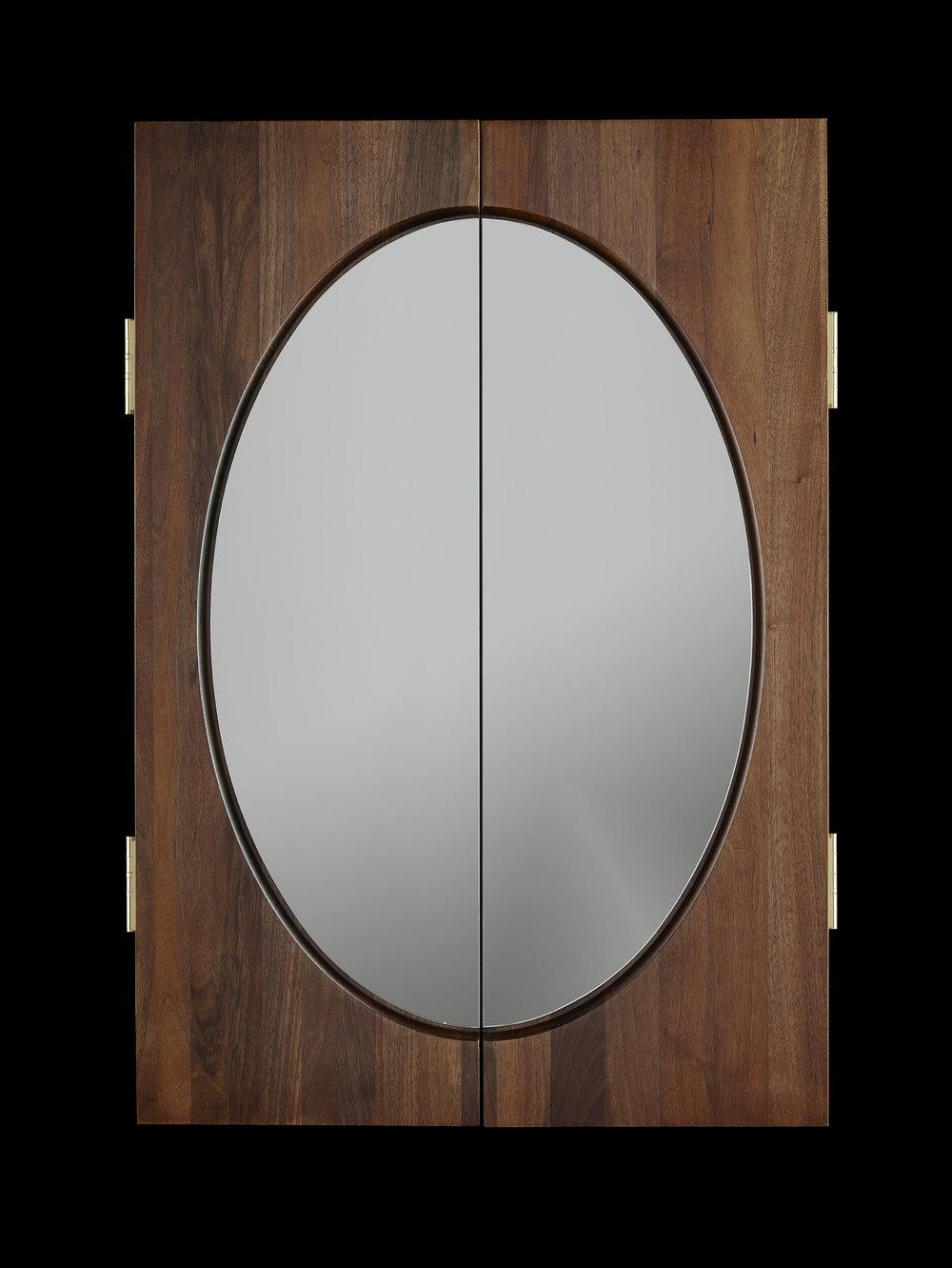 locket frame - Mirrored wall cabinet emulating a locket.