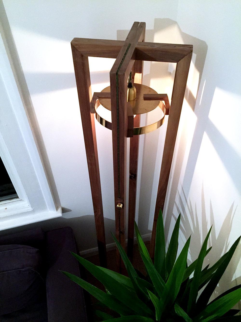 Mitre LAMP - Bespoke Walnut and brass floor lamp