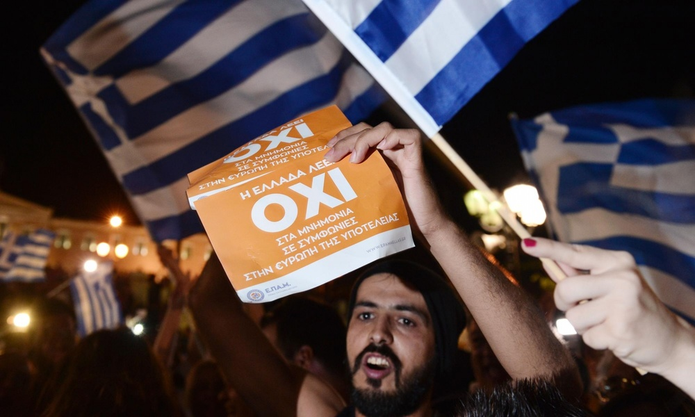 No campaign supporters celebrate in Athens