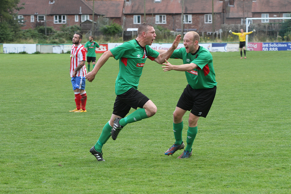 Rick Whyatt and Chris Sherrington celebrate after Rick had put us level with a superb solo effort