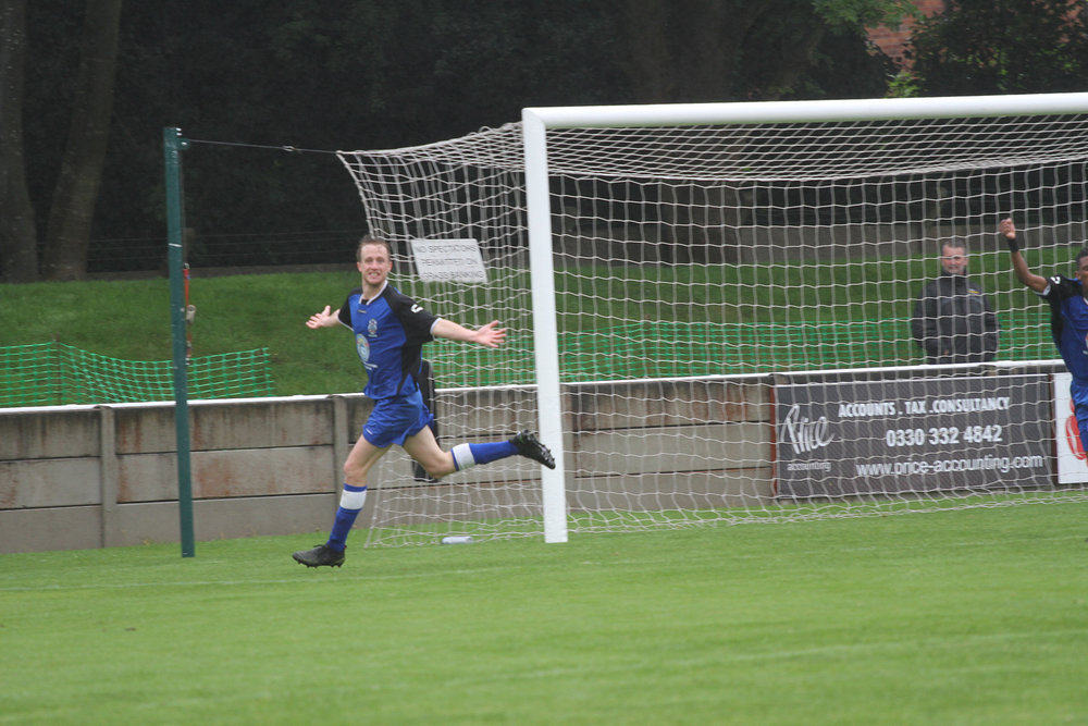 Mike Sherrington wheels away in delight after putting Cheadle 1-0 up