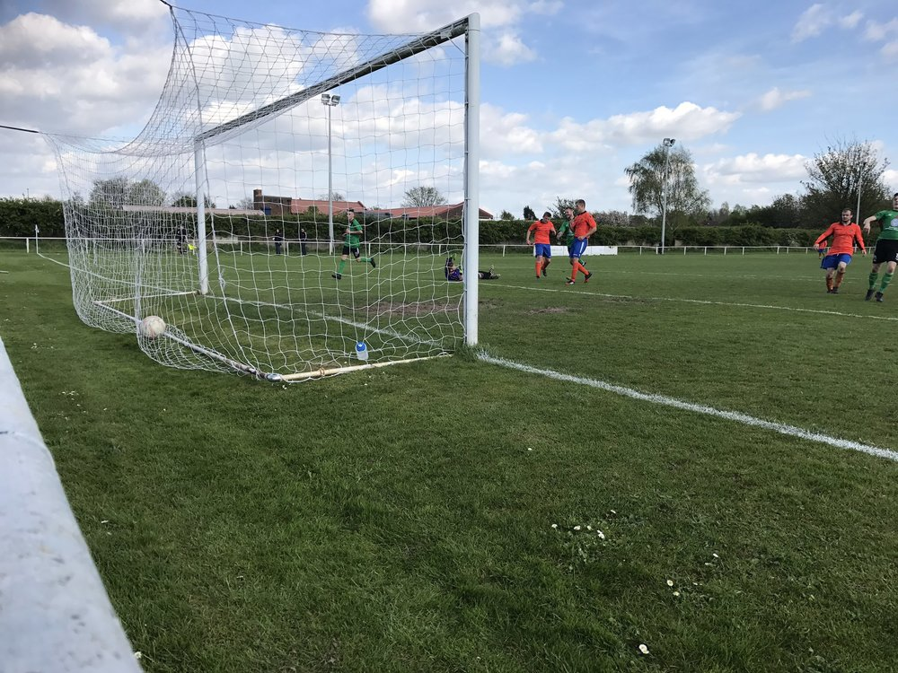 The ball nestles in the net after George Blackwell scores our sixth