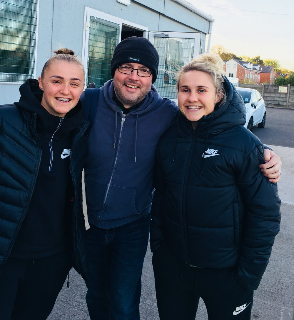 Committee member Karl with MCWFC's Georgia Stanway and Izzy Christiansen. Georgia was at Park Road to watch her brother play for Holker.