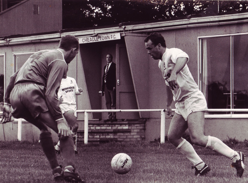 Paul Connah (white shirt) playing for us in front of the old clubhouse