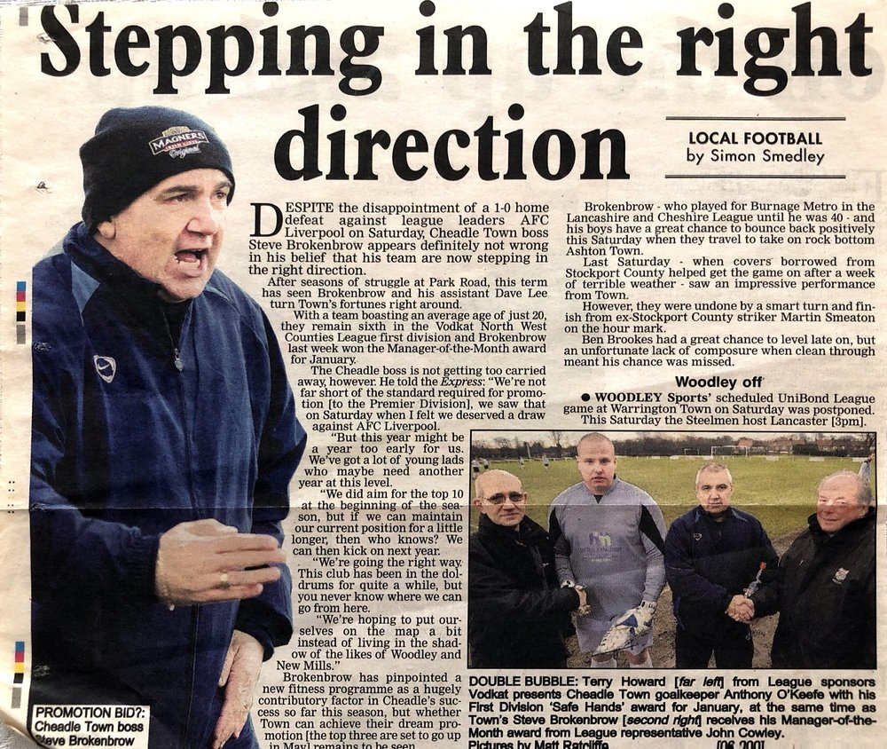 A confident Steve Brokenbrow in the Stockport Express during the 2009-10 season.