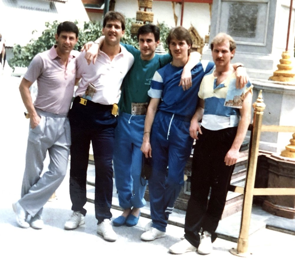 Relaxing in Bangkok are Dave Stephens, Dave Rowley, Eddie Beresford, Ian Ward and Johnny Davies.