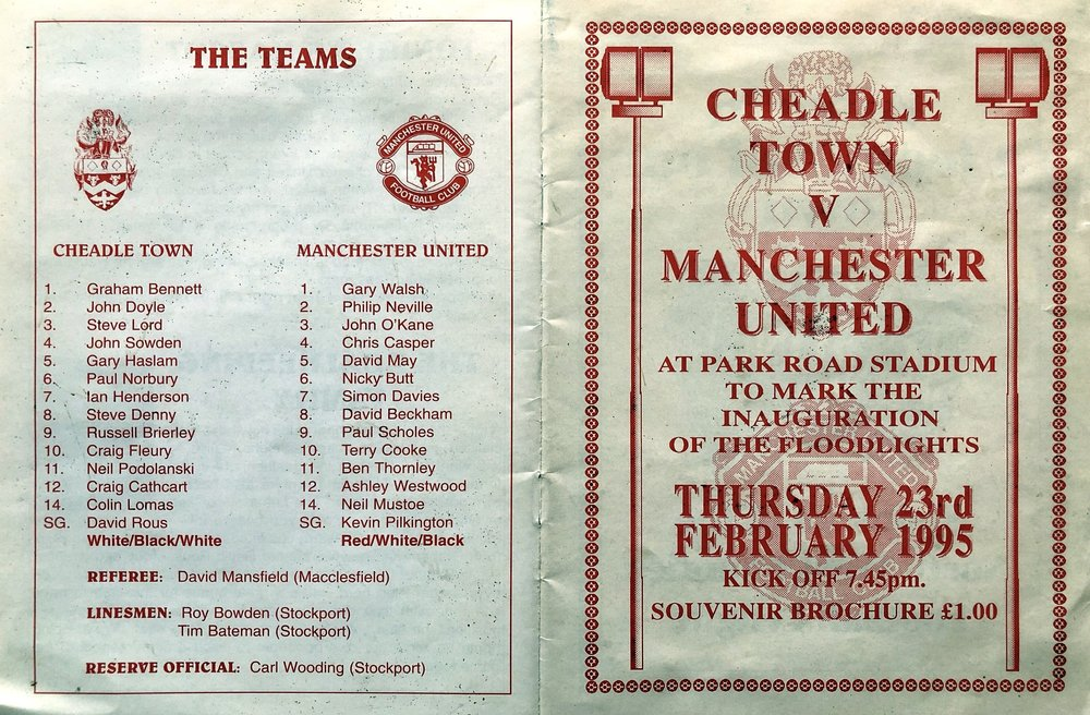 The outer covers for that match vs Manchester United in 1995 that marked the first ever match under floodlights at Park Road.  Some very well-known names in that Manchester United line-up!