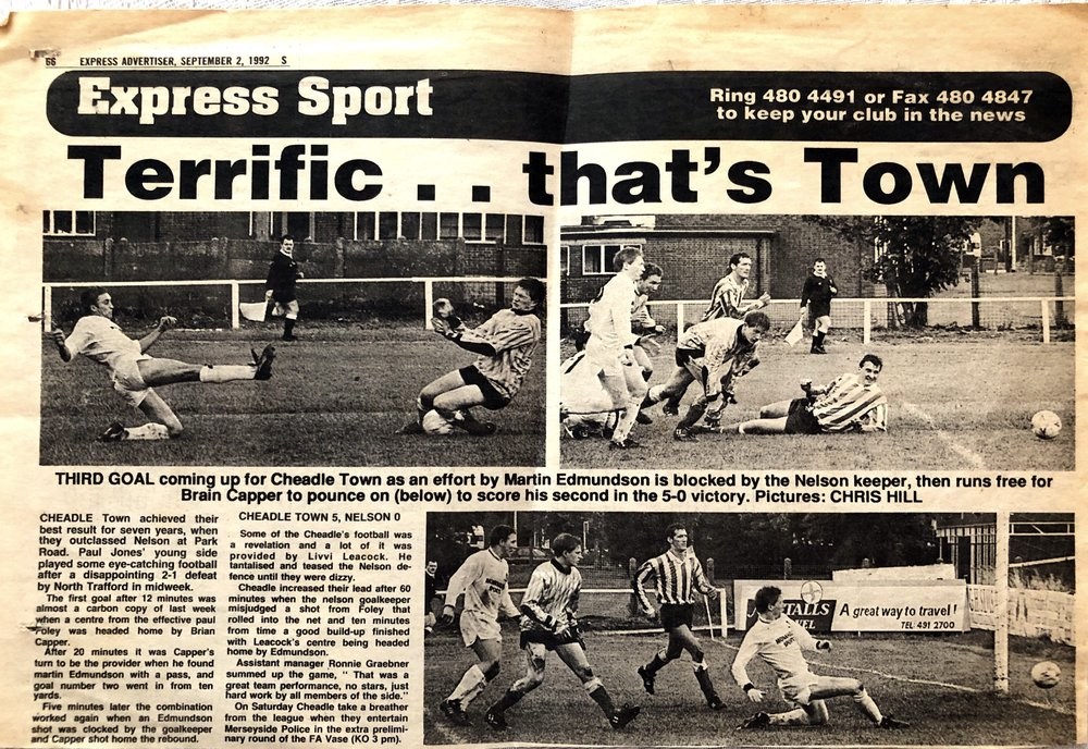 Match report from a 5-0 hammering of Nelson at the start of the 1992-93 season.  Note the far side of Park Road. You can't see the school that much now that the trees have grown!