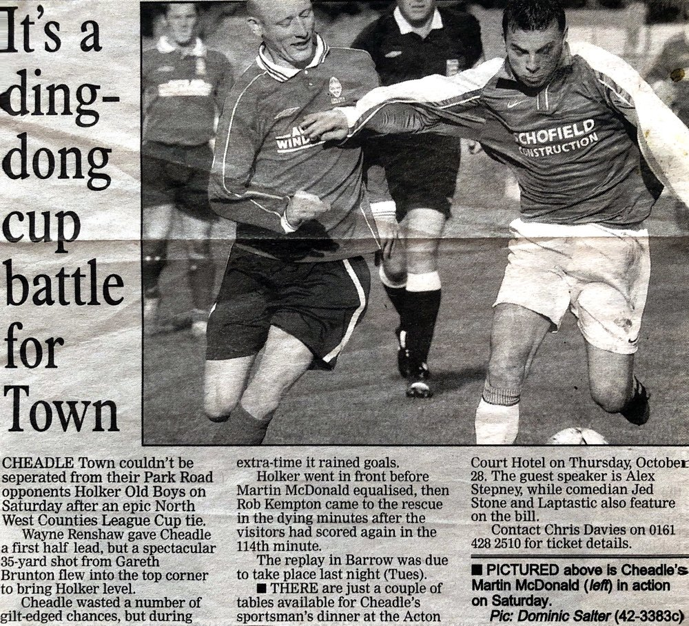 Brief match report from a League Cup tie vs Holker Old Boys. Precise season unknown but we think early-to-mid 1990s.   Cheadle's kit then was red shirts, black shorts and red stockings.