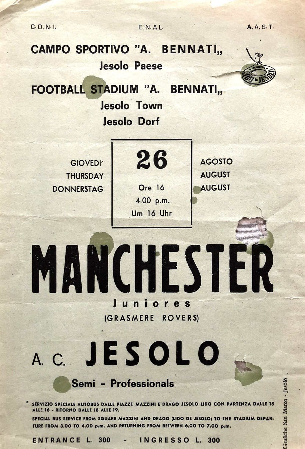 When the club toured it went under the name of 'AFC Manchester'. Here's a poster advertising a match vs Jesolo.