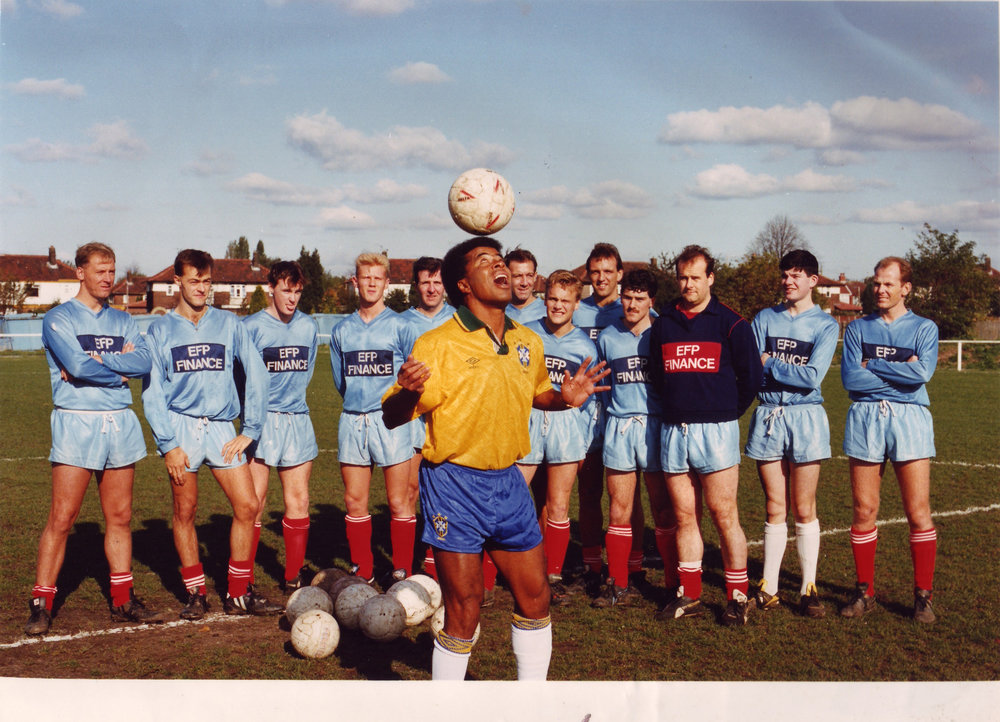 Jairzinho showing off his skills during his visit to Park Road