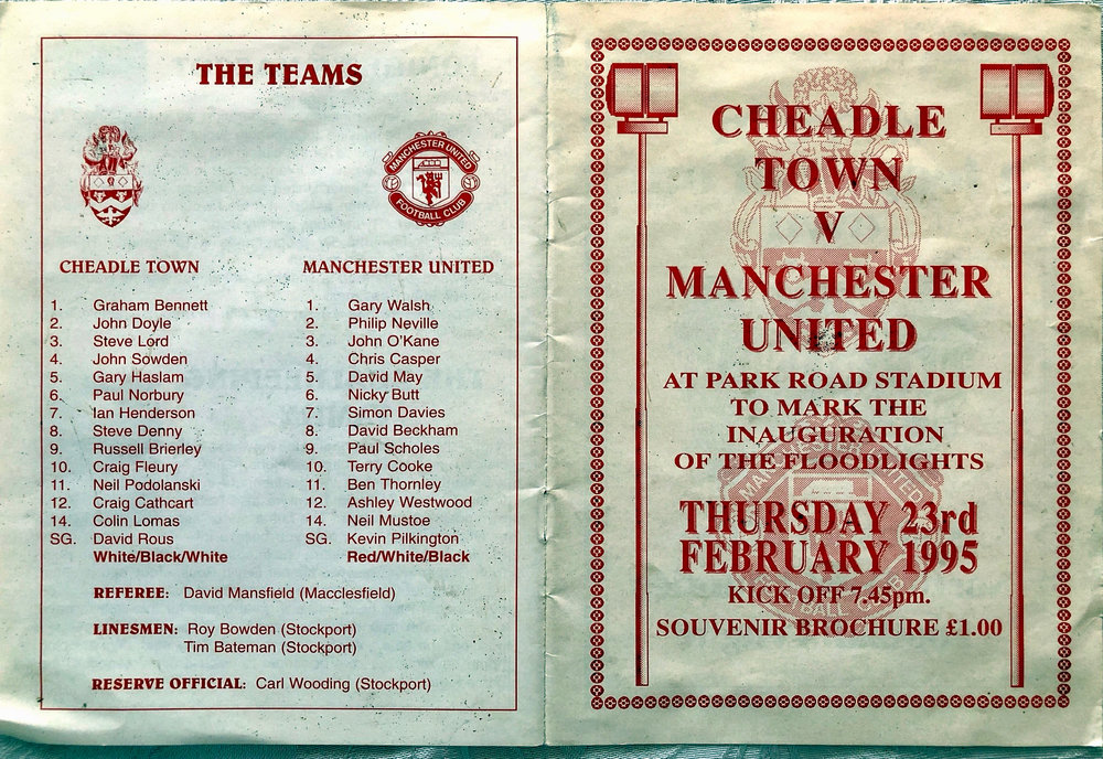The programme from that match vs Manchester United. Some very famous names on that United roster!