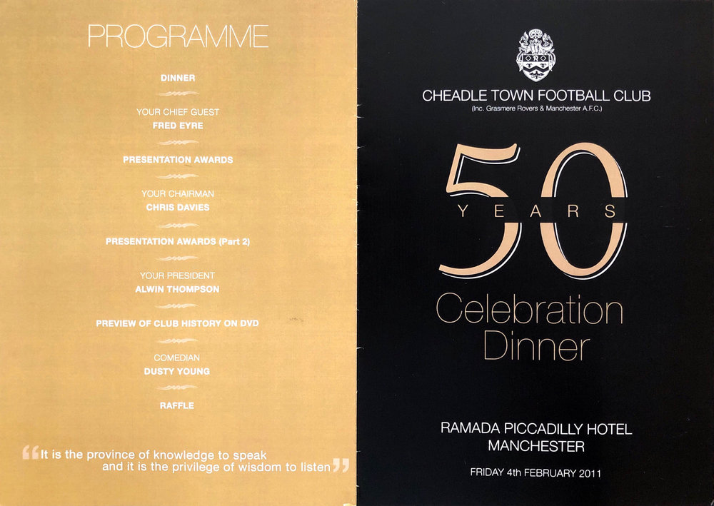 The programme from the 50 Year Celebration Dinner in 2011