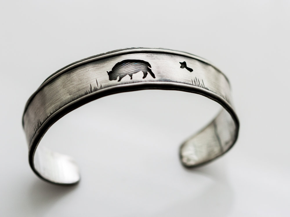 Sterling Buffalo Cuff w/ Bird