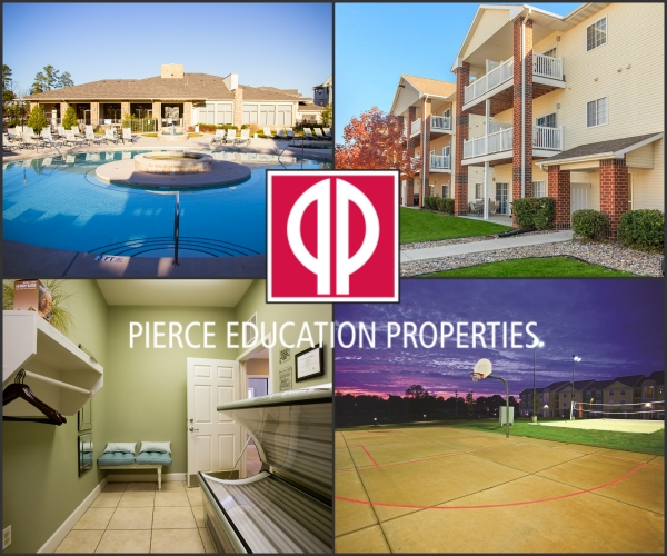 Clockwise from top left: 1) The Landing, East Carolina University; 2) South Duff, Iowa State University; 3) College Suites, Western Kentucky University; 4) Pierce properties offer luxury amenities, including private tanning stations, at no additional charge