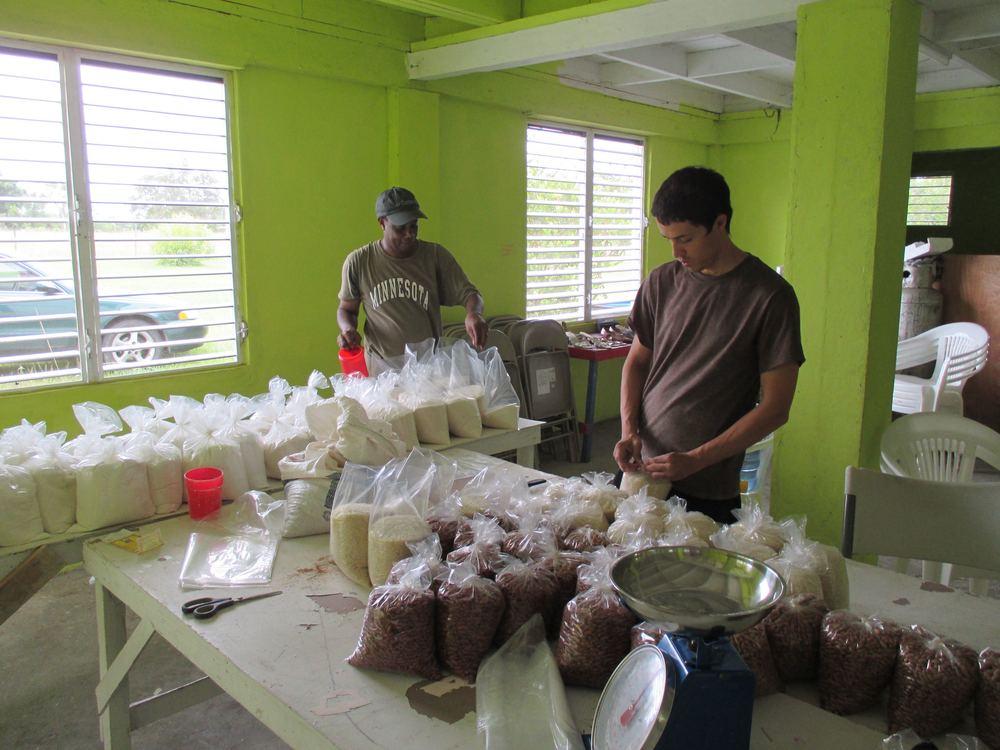 Volunteers bagging food for needy