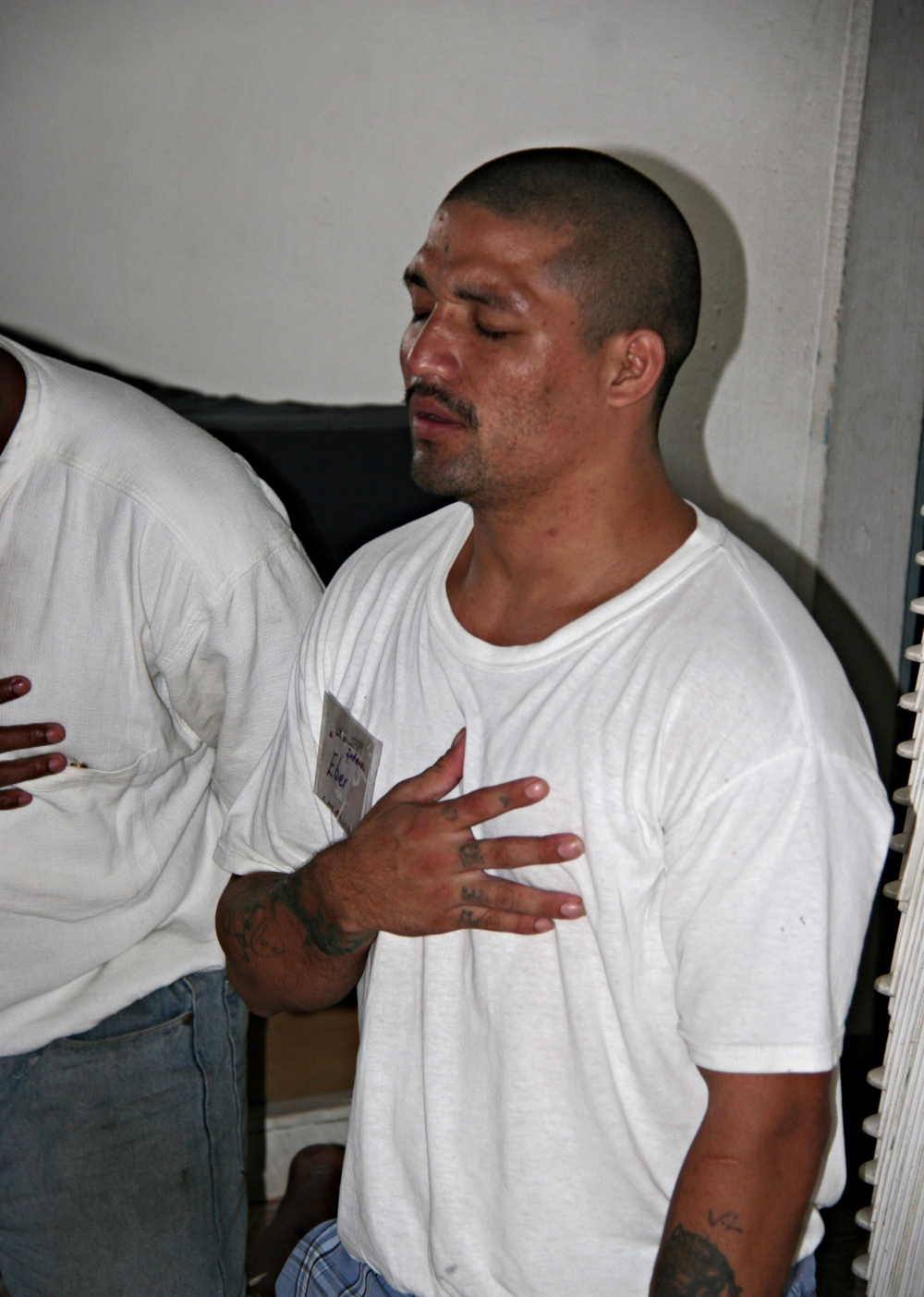 Ebber accepting Christ in Belize prison