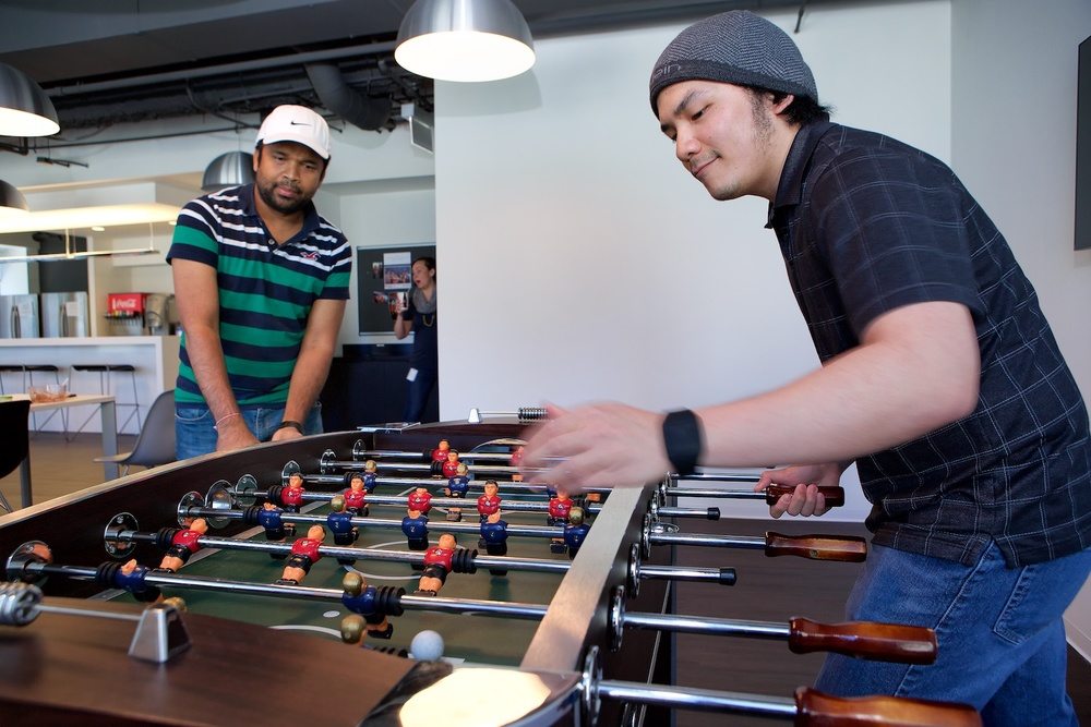 You can play foosball at OptionsHouse - or just watch.