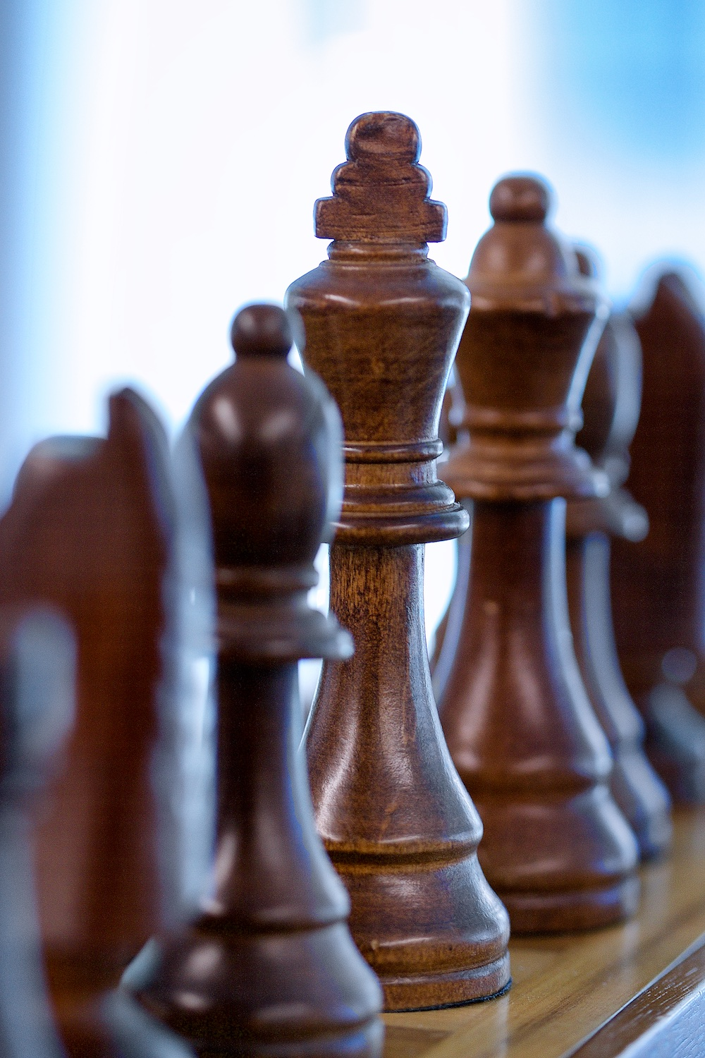 A chess board sits in the technology area.
