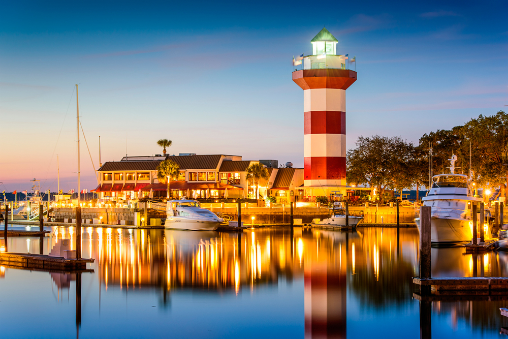 Harbour Town on Hilton Head in Sea Pines, offering waterfront seafood dining.