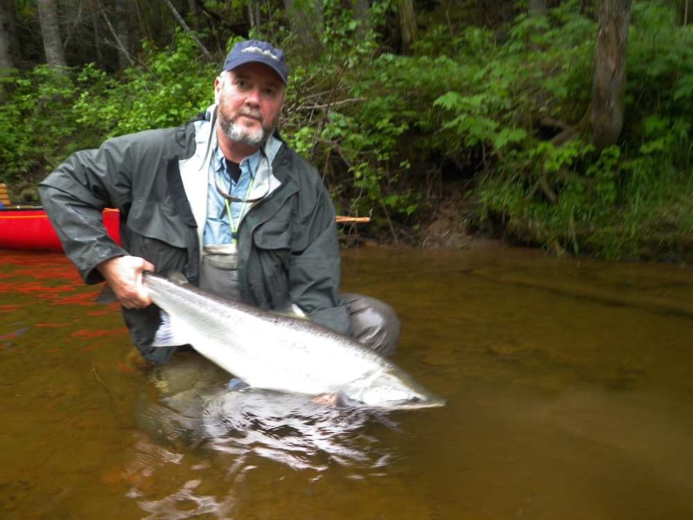 Salmon Lodge Regular David Kent with his first fish of 2016, nice one David!