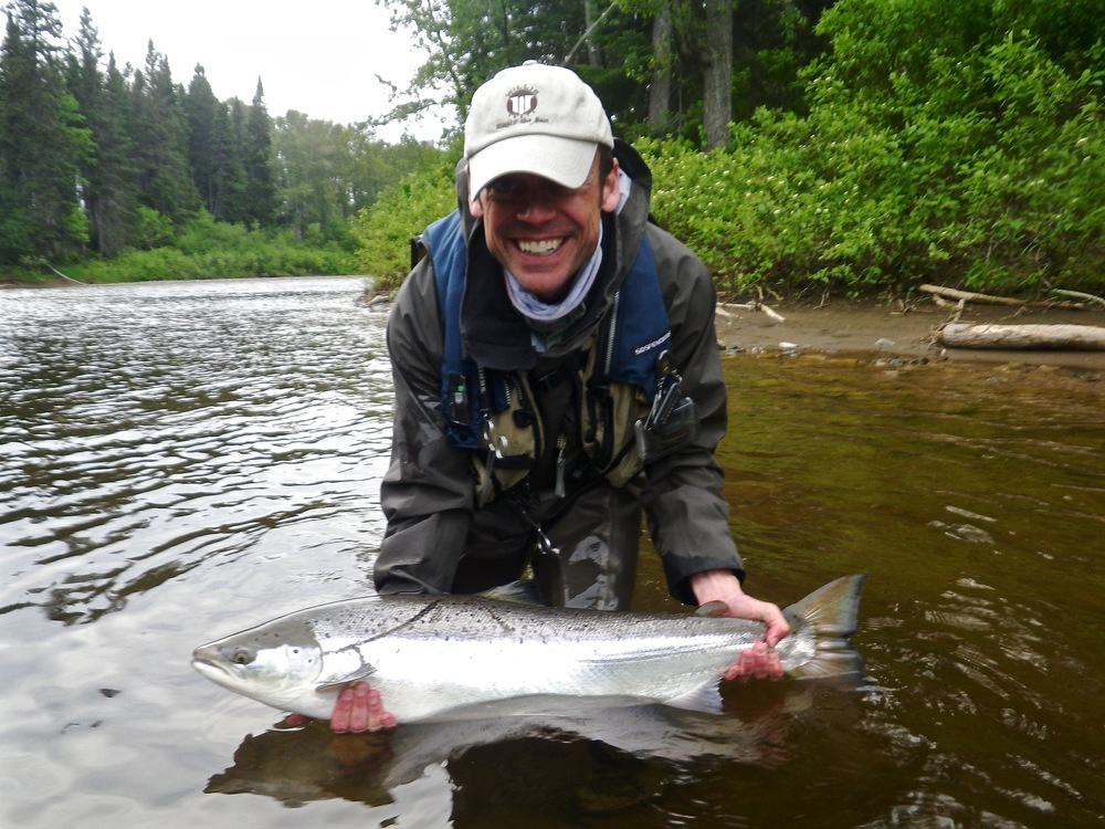 David Wood with his first Atlantic salmon from the Grand Cascapedia, Congratulations David, see you next year.