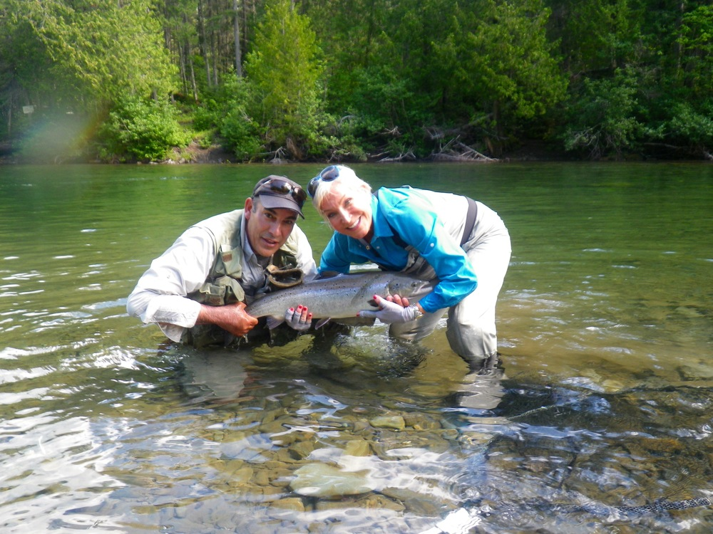 Barbara Crook and Salmon Lodge guide Reg Cyr put a nice one back, congratulations Barbara!