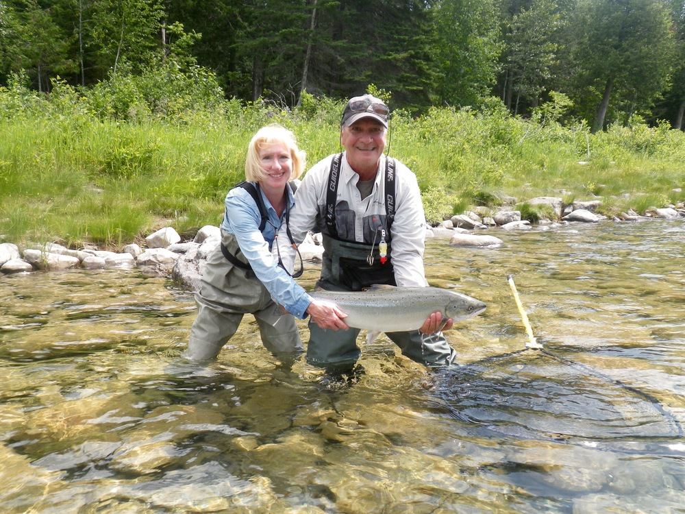 First time salmon angler Dayl Walker with Salmon Lodge guide Clement Bernier, Congratulations Dayl !