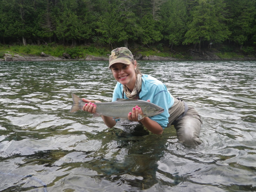 Kelly Williams with her first salmon, Congratulations Kelly!