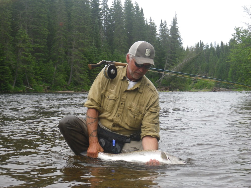 Henrik Mortensen with his first Grand Cascapedia salmon of the season, Congratulations Henrik!