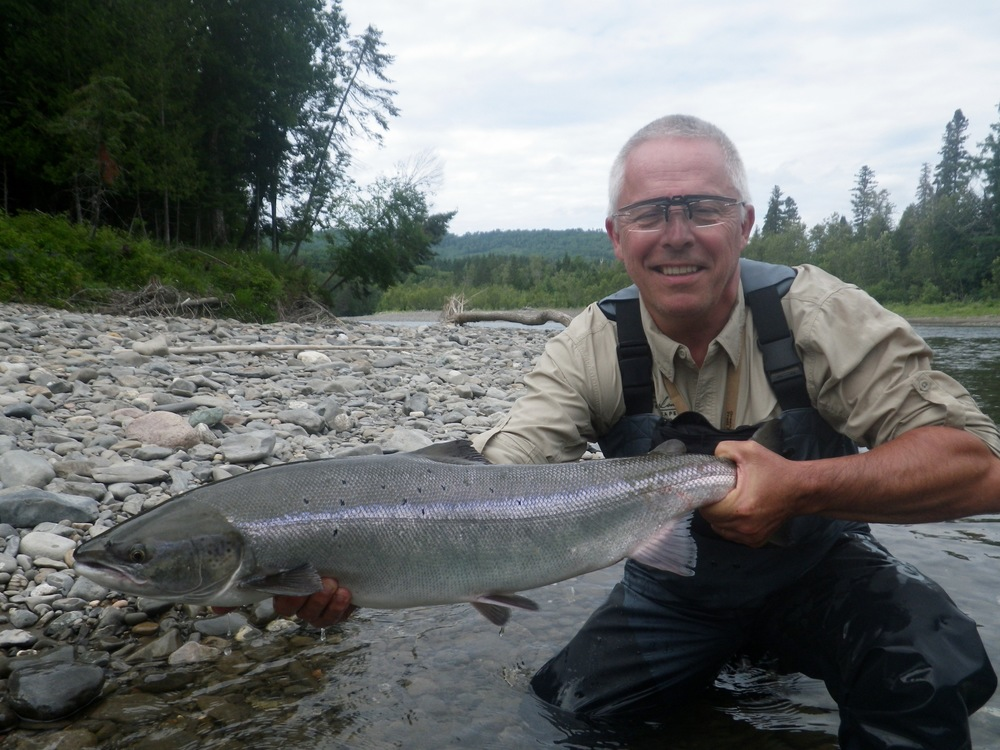 Rene Cathelin lands his first Grand Cascapedia salmon, Congratulations Rene!