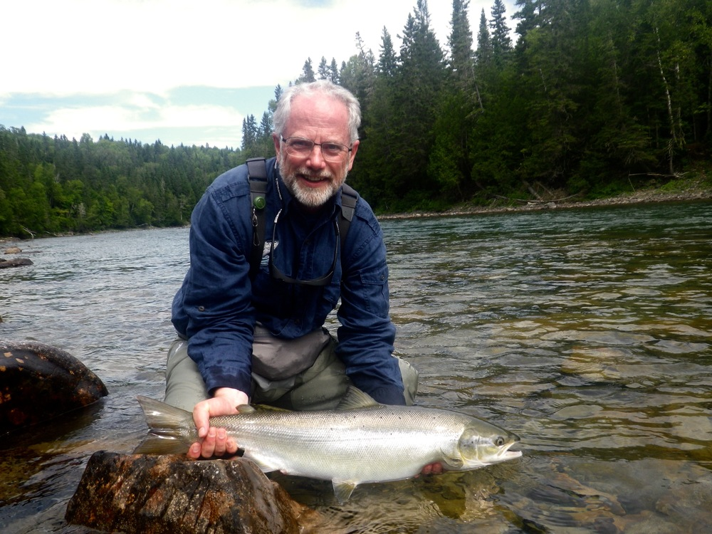 Salmon Lodge regular Charles Nicholas Edwards with his first one of 2016, nice salmon Nick!