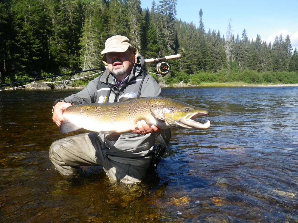 Pierre Brosseau with his first Cascapedia salmon of the year, Congratulations Pierre!