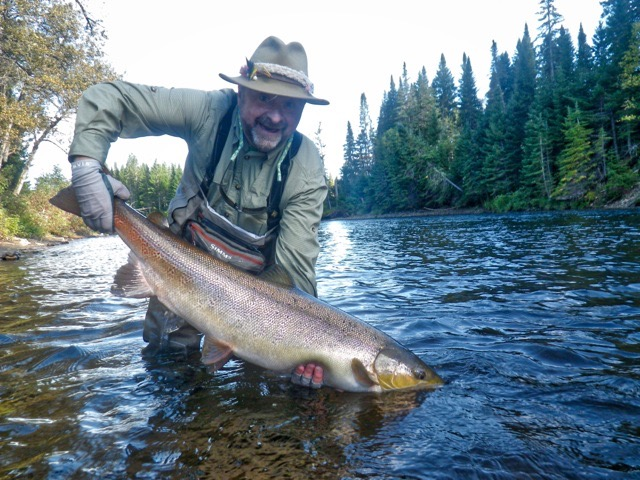 Marcel Caissie landed this fine Grand Cascapedia salmon  on his first day, four more followed , nice fishing Marcel!
