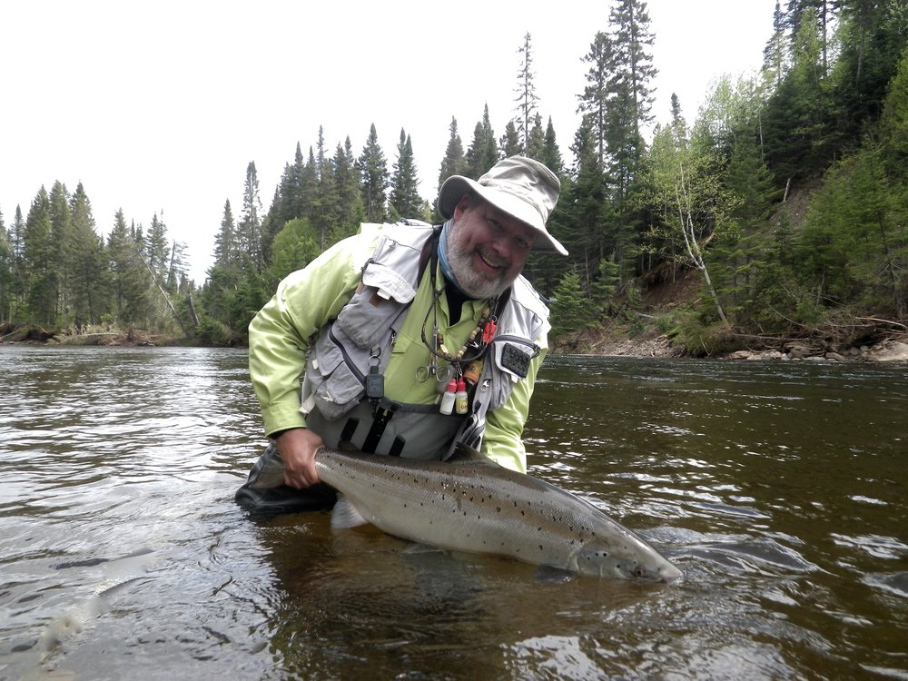 Dan Greenberg with a fine salmon from The Grand Cascapedia, Nice one Dan!