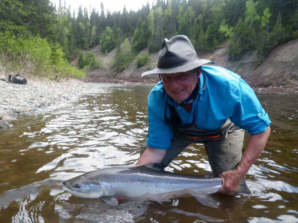 Salmon Lodge regular Jack Gustafson with his first one of the season, nice salmon Jack!
