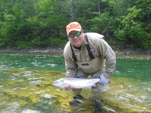 Thomas Smith with his first Atlantic salmon, Congratulations Thomas!