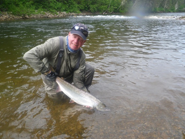 Salmon Lodge regularJohn Allman with a fine Grand Cascapedia fish, congratulations John! see you next year.