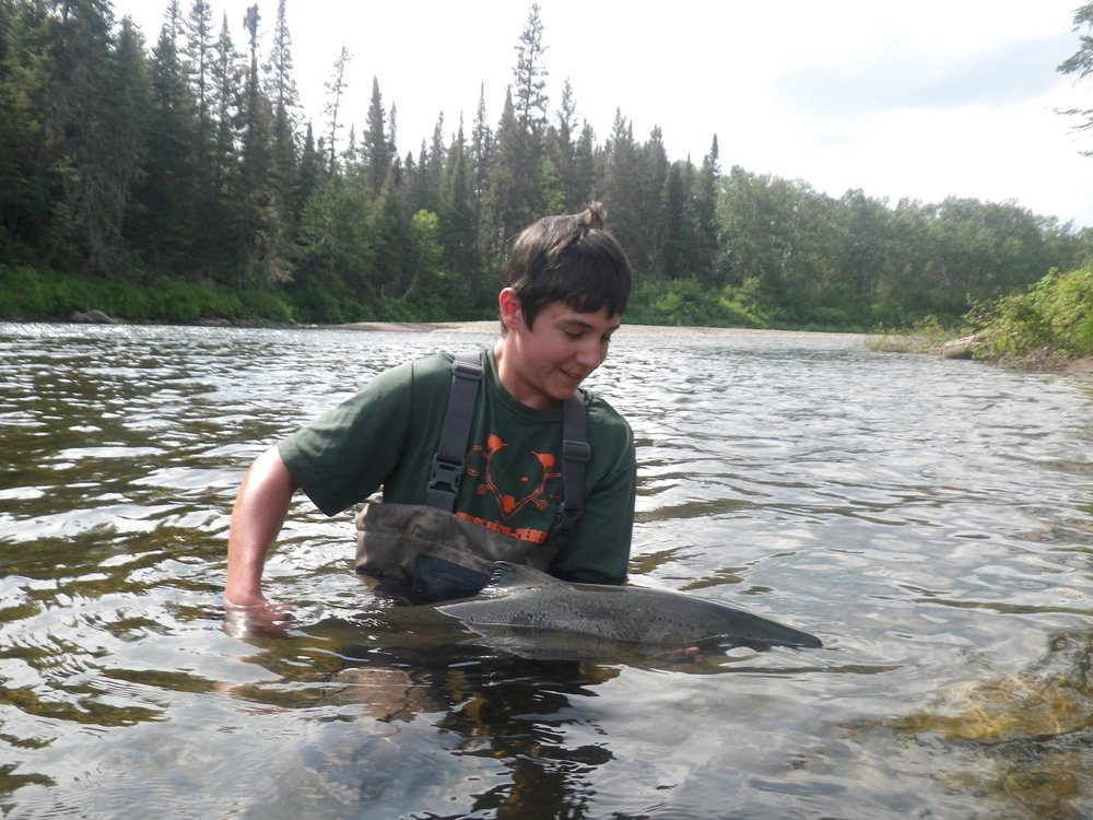 "Jerome Letourneau AKA ""KING OF THE RIVER""  This was Jerome's first time Atlantic salmon fishing, three days three salmon! way to go Jerome!"
