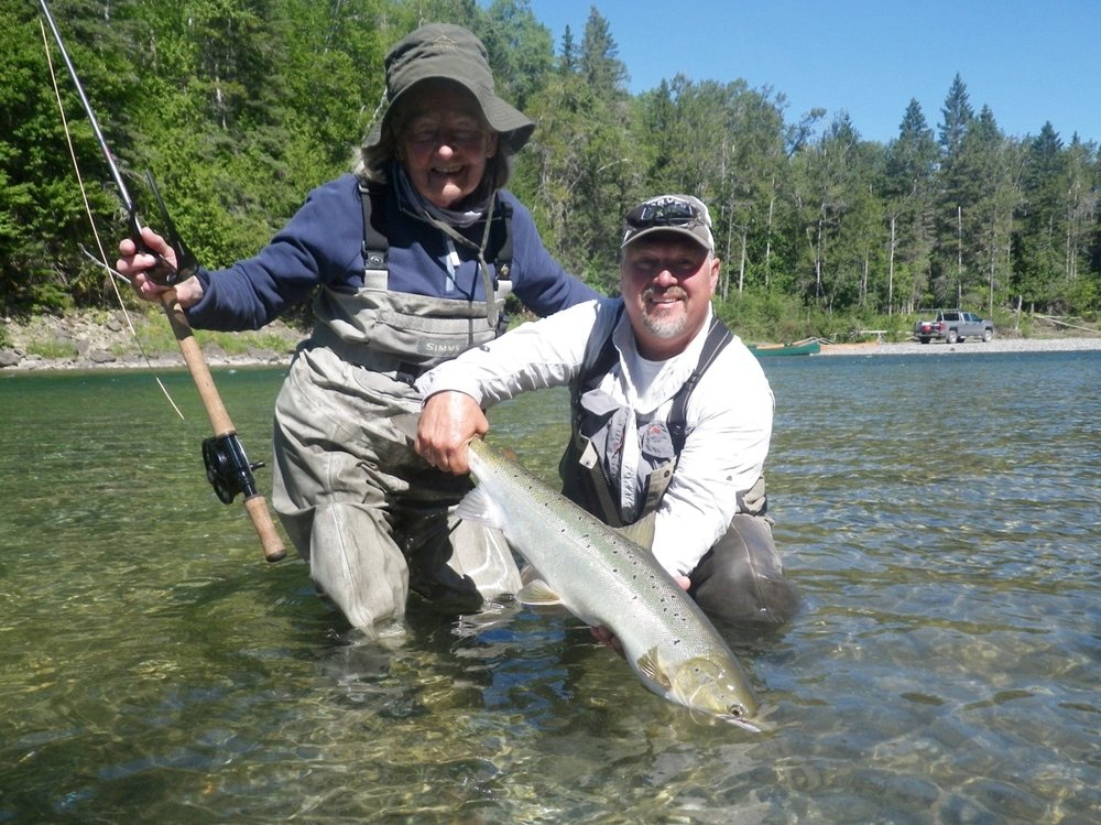 Jane Adley and Salmon Lodge guide Yvan Bernard with a nice fresh salmon on the Bonaventure, Congratulations Jane see you next year!