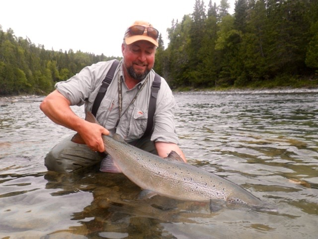 Soren Hjortgaard with yet another fine salmon from the Bonaventure, congratulations Soren, see you next year!