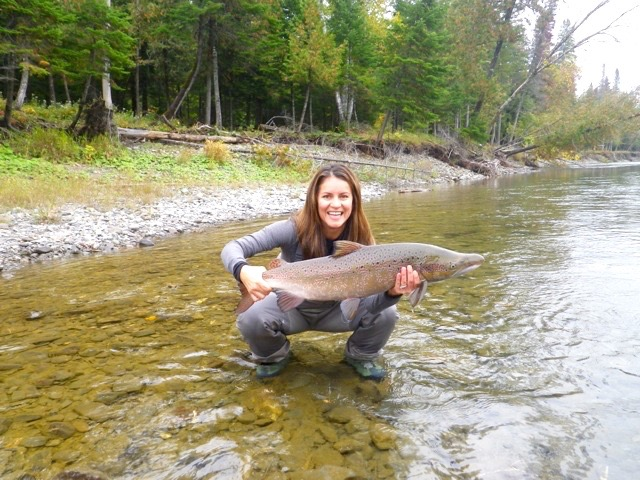 Alma Yates with her first salmon of the trip, well done Alma!