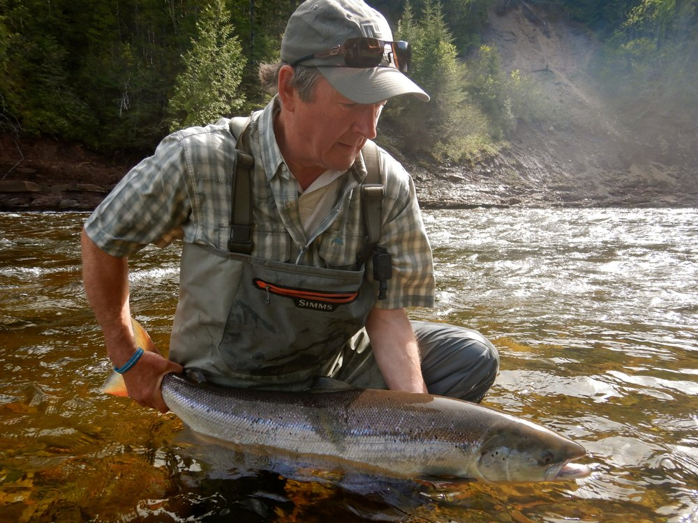 Michael Fitzroy from the UK releases his first Grand Cascapedia salmon, congratulations Michael.