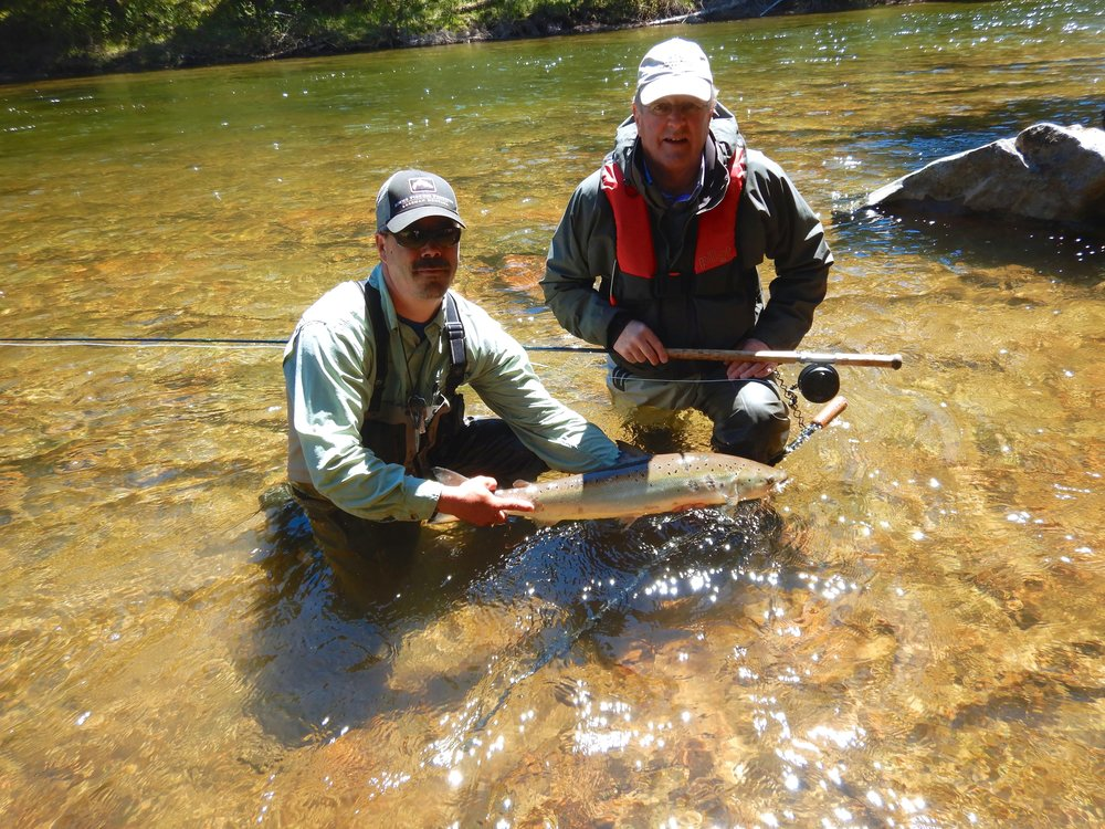 Tim Bridge (Right)  with Salmon Lodge guide Jean Marc Clermont.  Nice one Tim!