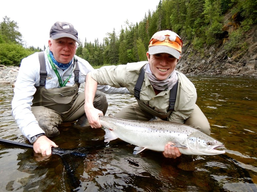 John Allman with his son Jack , they landed this one on the Grand guided by Salmon Lodge guide Clement Bernier. Nice one Jack!