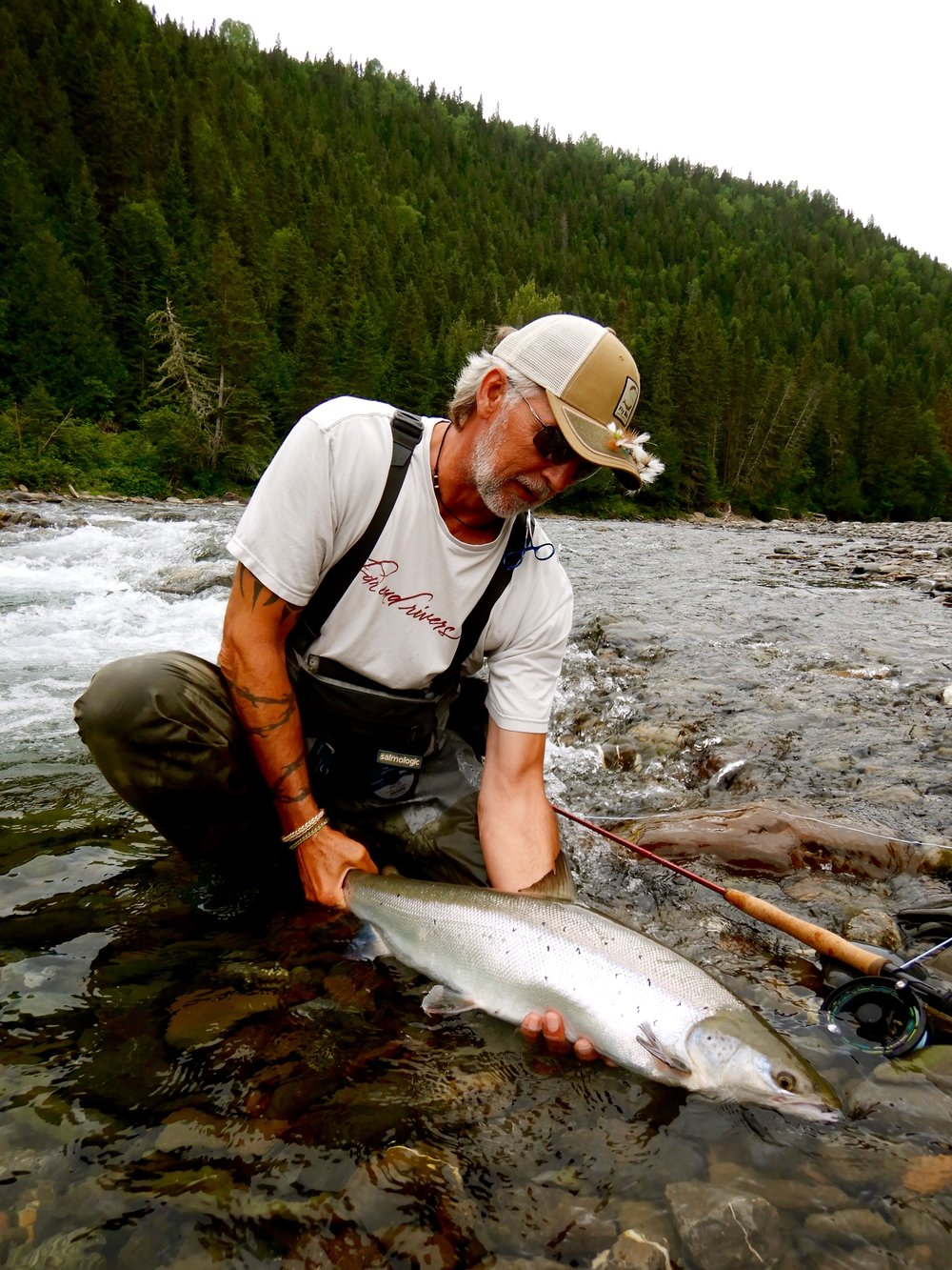 Henrik Mortensen releases his first Cascapedia salmon the season. Nice one Henrik!