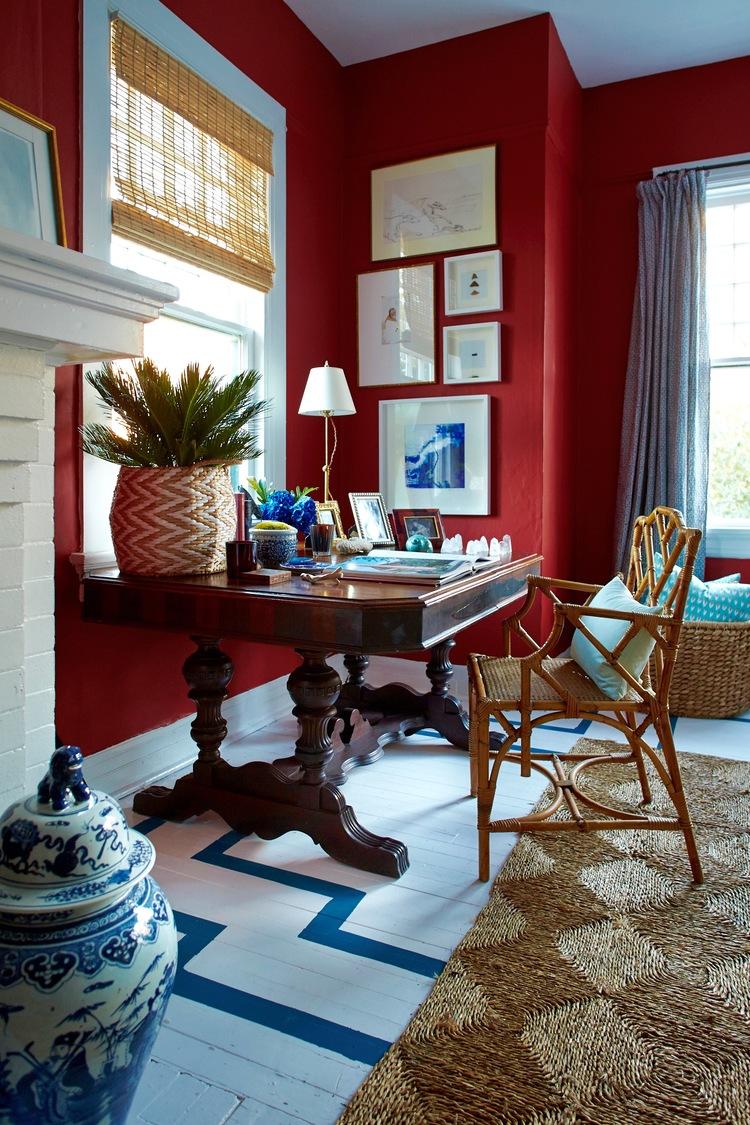 Red And Blue Living Room Interiors W I L L I A M M C L U R E